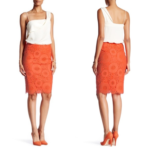 Trina Turk Dresses & Skirts - Trina Turk Embroidered Knit Lace Skirt Eyelash Lac